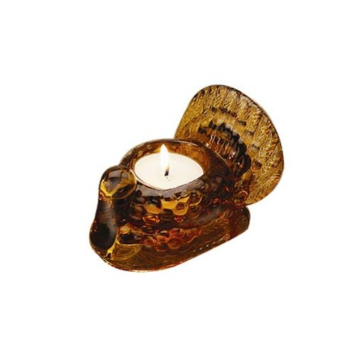 Biedermann and Sons Glass Turkey Tealight/Taper Holder