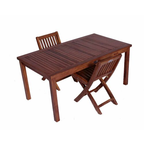 JazTy Classic Kids' 3 Piece Teak Table and Folding Chair Set