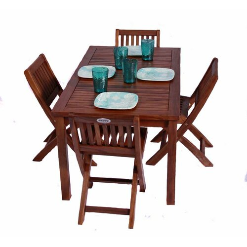 JazTy Classic Kids 5 Piece Teak Table and Folding Chair Set