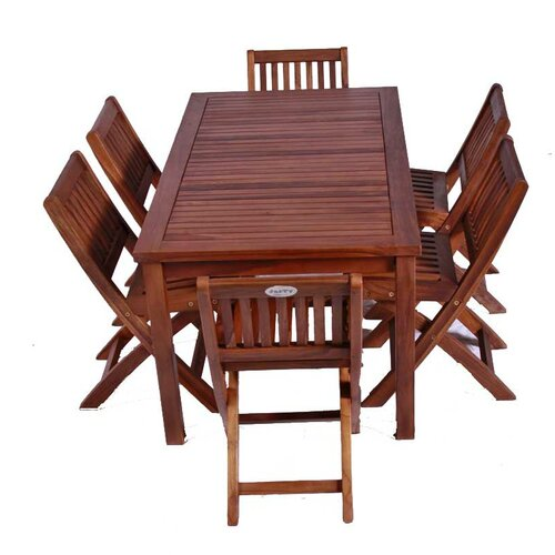 JazTy Classic Kids' 7 Piece Teak Table and Folding Chair Set