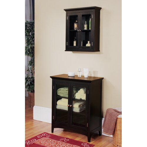 Elegant Home Fashions Madison Avenue Dark Wall Cabinet with Two Doors