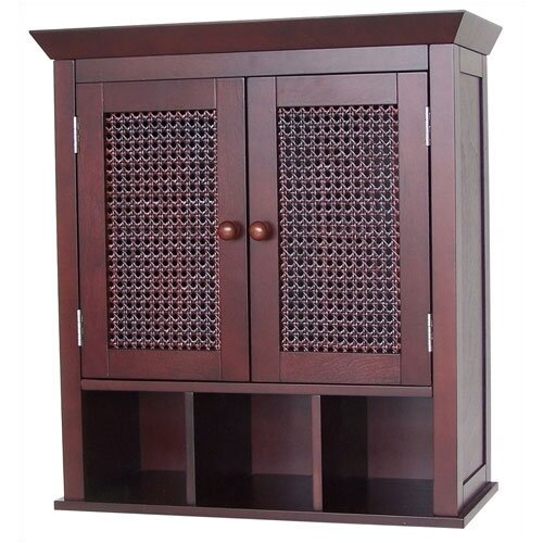 Cane Two-Door Wall Cabinet with Cubbies