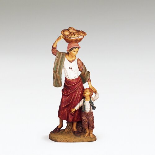 Fontanini Lydia with Son and Bread Basket Figurine