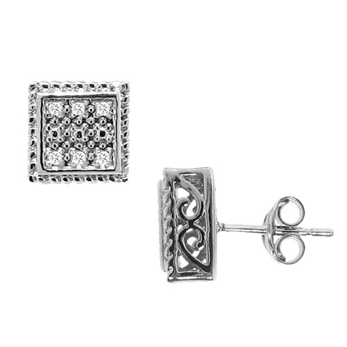 Diamond Square Stud Earrings
