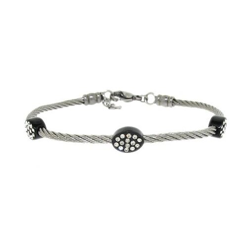 Moise Two-Tone Twisted Wire Crystal Bracelet