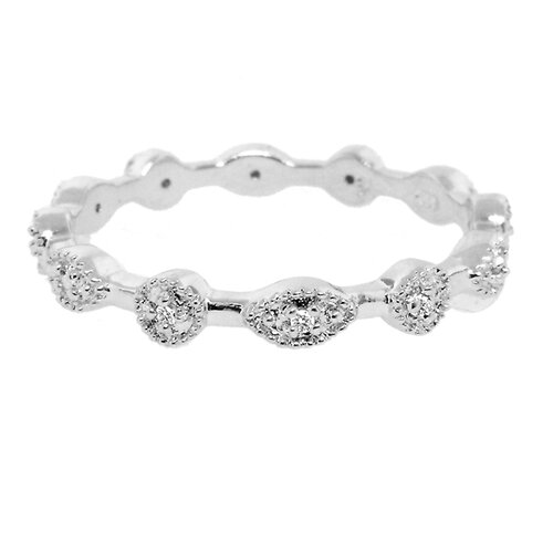 Moise Sterling Silver Diamond Accent Stackable Ring