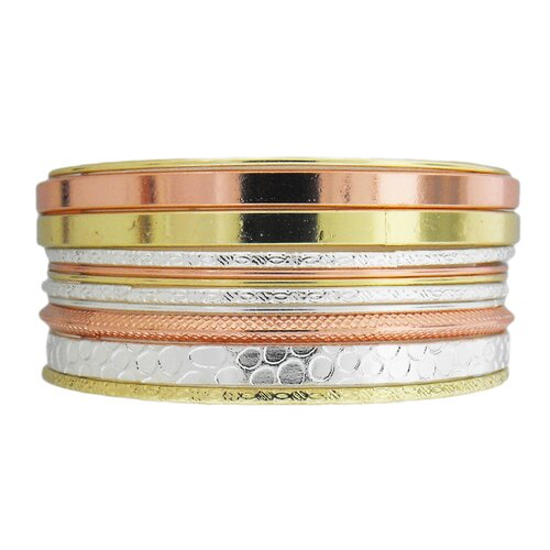 Tri-tone Textured Bangle Bracelet (Set of 11)
