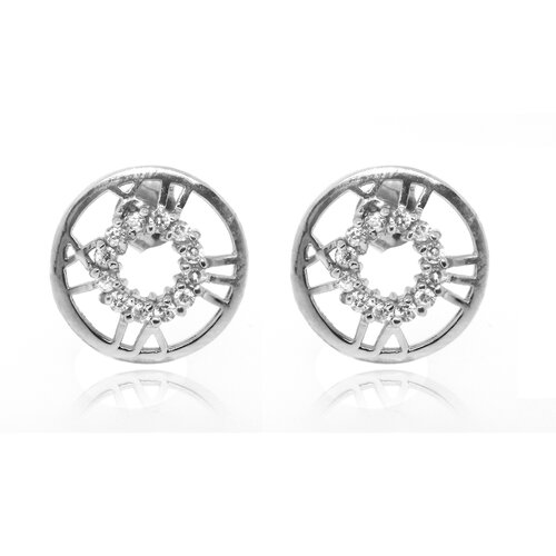 Round Roman Numeral Cubic Zirconia Stud Earring