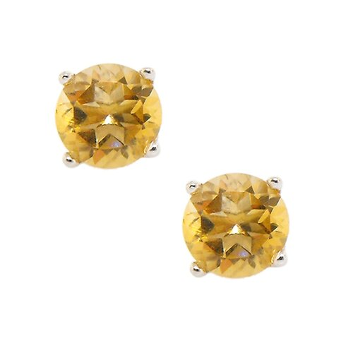 Round Cut Genuine Citrine Brilliant Stud Earring