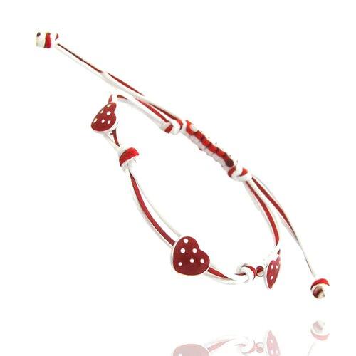 3 Station Polka-Dot Heart Charm Bracelet