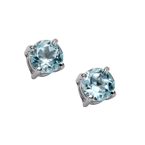 Round Cut Genuine Topaz Brilliant Stud Earring