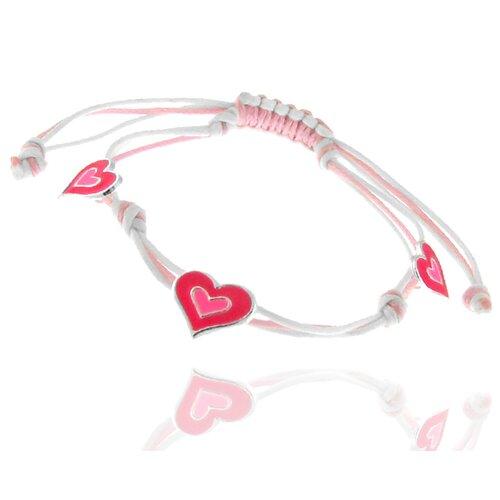 3 Station Heart Charm Cord Bracelet