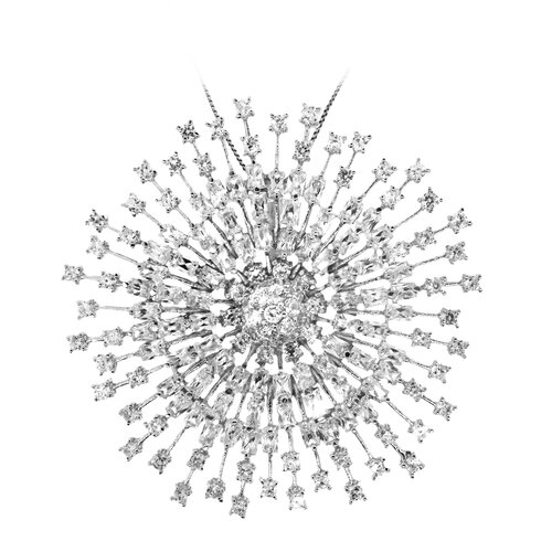 Sterling Silver Studded Star Burst Cubic Zirconia Pendant Necklace