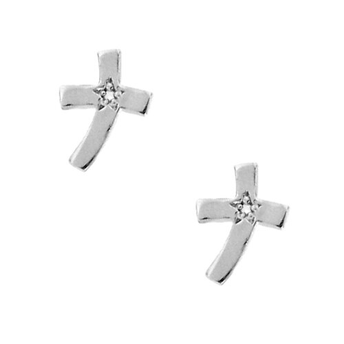 Sterling Silver Semi-precious Birthstone Cross Earrings