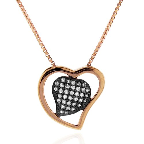 Moise 14kt Rose Goldplated and Black Rhodium over Sterling Silver 925 Two-tone Micro-pave Clear Cubic Zirconia Heart Pendant Necklace - 18""