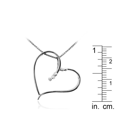 """Moise Black Rhodium over Sterling Silver 925 Two-tone Cut-out Heart Shape Pendant Necklace - 18"""""""