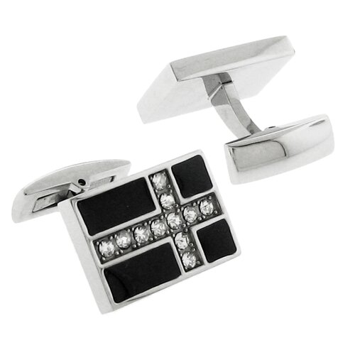 Stainless Steel Silver-Tone w/ Carbon Fiber Inlay and CZ Stone Cross Cufflinks