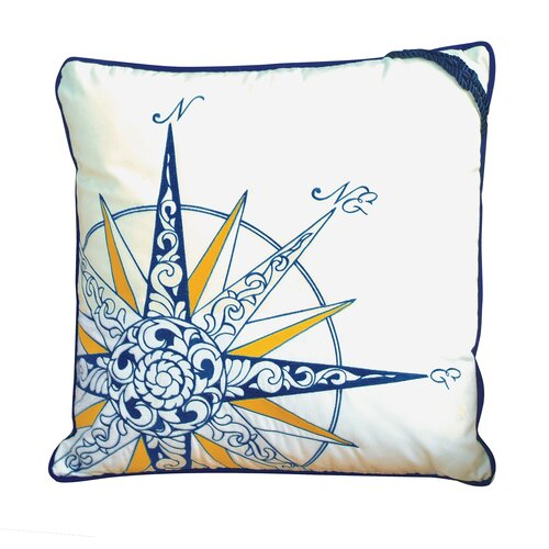 I Sea Life Embroidered Nautical Compass Rose Pillow