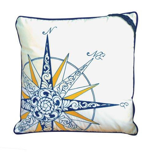 I Sea Life Embroidered Nautical Compass Rose Pillow