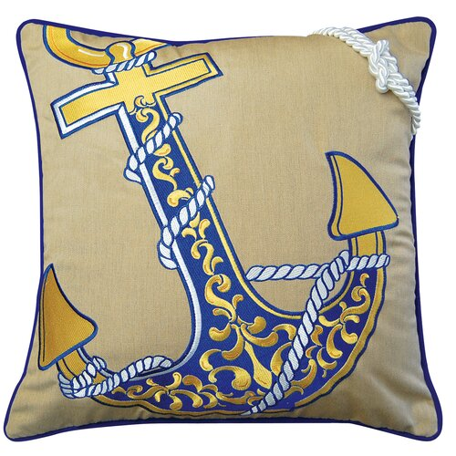 I Sea Life Embroidered Nautical Anchor Pillow