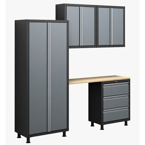 RTA Series 6' H x 7' W x 1.5' D 5-Piece Cabinet Set with Locker ...