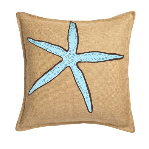 Ecoaccents Starfish Applique on Washed Cotton Canvas and Burlap Pillow