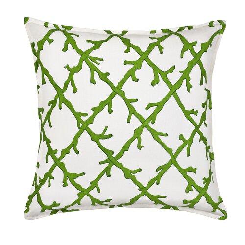 Coral Lattice Cotton Canvas Pillow