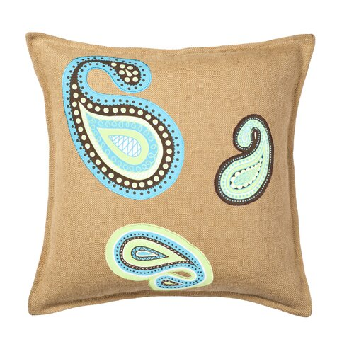 Paisley Applique on Washed Cotton Canvas and Burlap Pillow