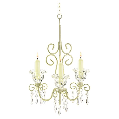 Rococo 3 Light Crystal Chandelier in White