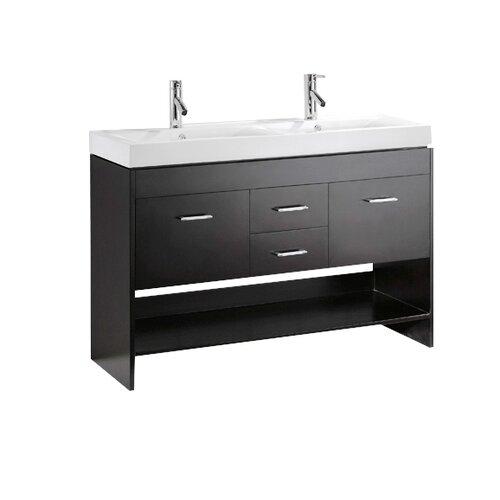 "Virtu Gloria 47"" Double Bathroom Vanity Set with Mirror"
