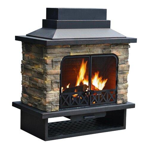Sunjoy Felicia Steel Wood Outdoor Fireplace Reviews Wayfair