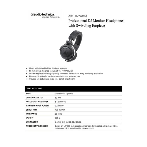 Audio-Technica Professional DJ Monitor Swivel Earpiece Headphones