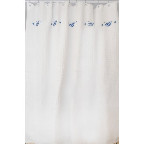 Shell Waffle Cotton Shower Curtain