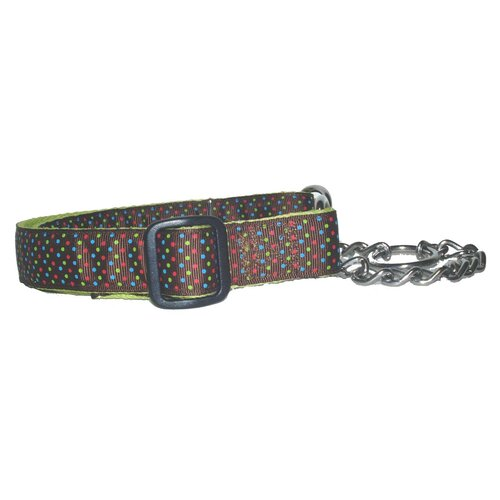 Triple Brown Dots Adjustable Martingale Chain Collar