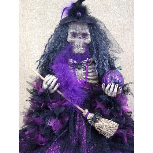 Karen Didion Originals Spooktacular Halloween Skeleton Witch Figurine