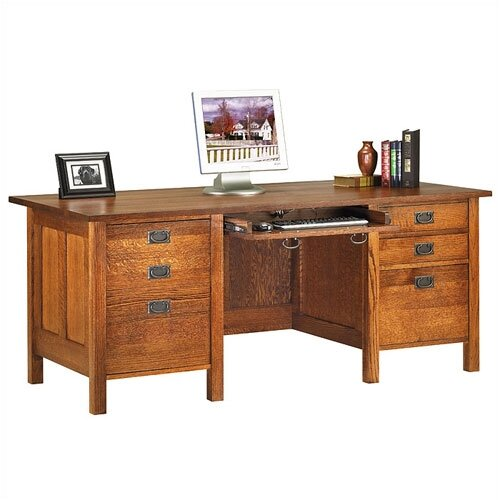 "Anthony Lauren Craftsman Home Office 72"" W Executive Modesty Desk"