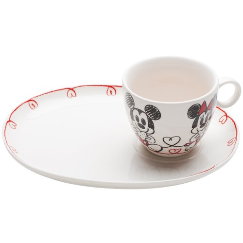 Mickey and Minnie Porcelain Cookie and Milk 2 Piece Place Setting