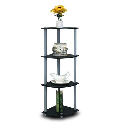 Furinno Turn 'n' Tube 4 Tier Corner Display Rack Shelving Unit