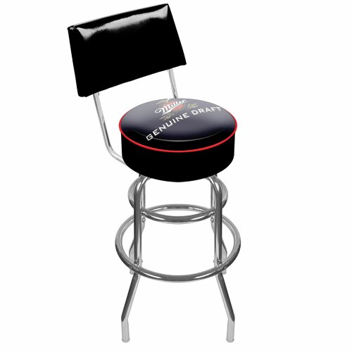 Trademark Global Miller Genuine Draft Swivel Bar Stool with Cushion