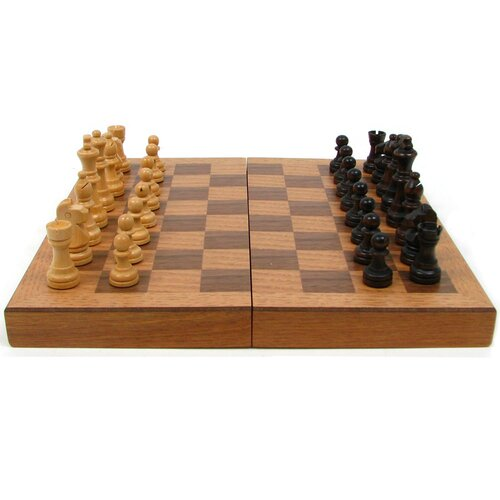 Trademark Global Chess Board Wooden Book Style with Staunton Chessmen