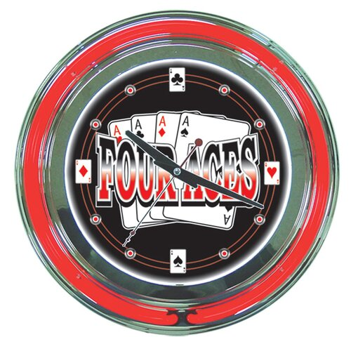 """Trademark Global Four Aces 14"""" Wall Clock"""