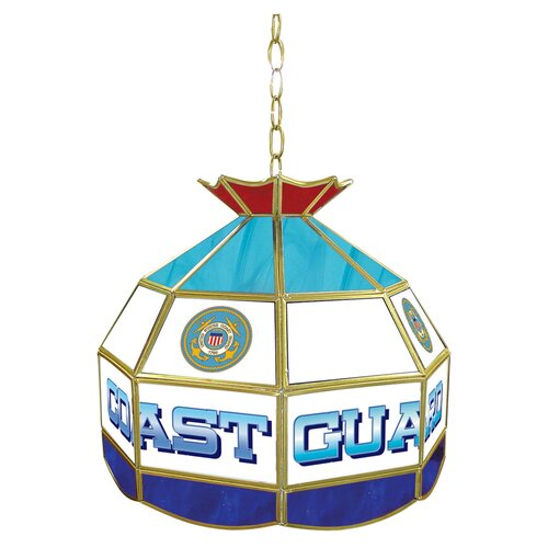Trademark Global United States Coast Guard Stained Glass Tiffany Lamp