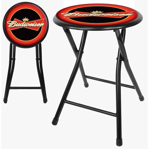 "Trademark Global Budweiser 18"" Folding Bar Stool with Cushion"