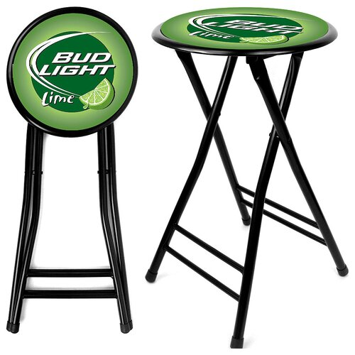 "Trademark Global 24"" Bud Light Lime Folding Bar Stool with Cushion"
