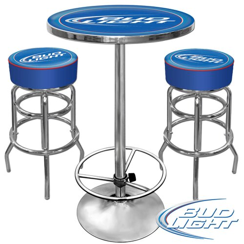 Trademark Global Ultimate Bud Light Game Room 3 Piece Pub Table Set