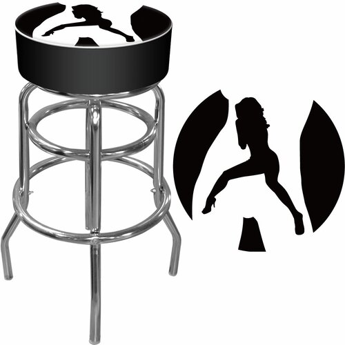 "Trademark Global 30"" Shadow Babes Swivel Bar Stool with Cushion"