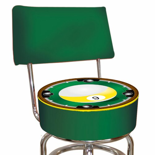 Trademark Global Nine Ball Swivel Bar Stool with Cushion