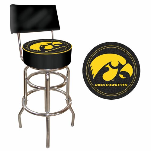 Trademark Global Iowa State Swivel Bar Stool with Cushion