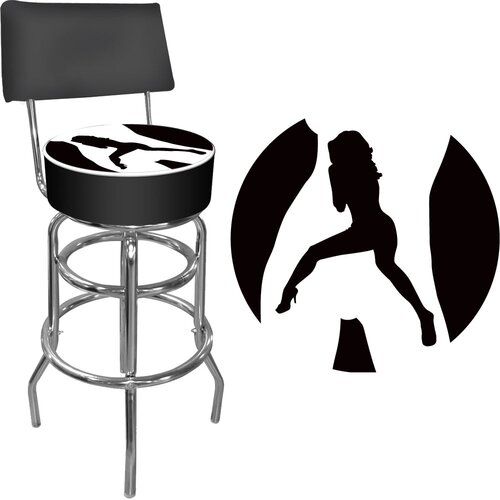 Trademark Global Shadow Babes Swivel Bar Stool with Cushion