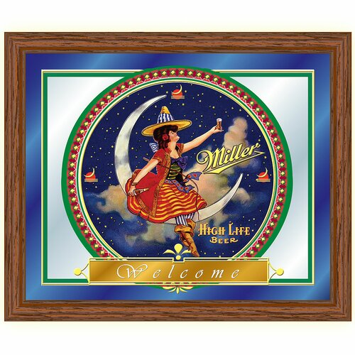Miller High Life Girl in The Moon Framed Graphic Art